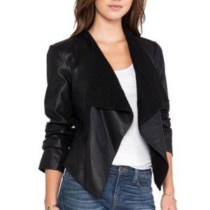 Black Vegan Leather Drape Moto Jacket BB Dakota M